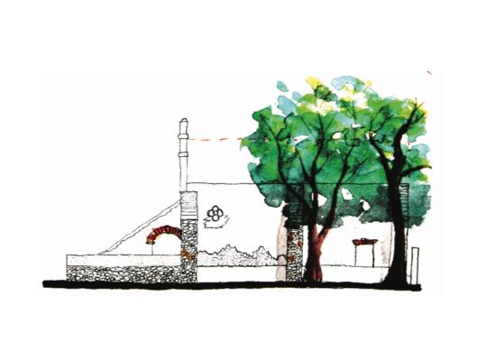 Acuarela de la capilla de la ex hacienda Centro Comunal Apanquetzalco