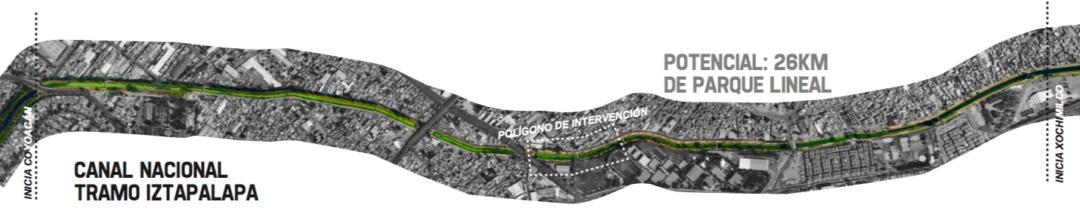 Plan maestro del Parque Lineal en Canal Nacional, proyecto para iztapalapa y coyoacán