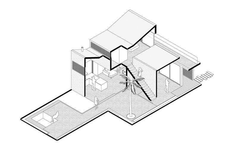 isométrico de diseños de casas modernas con planos