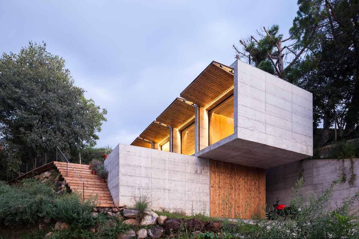 Diseños de casas moderna fachada abierta de casa retina